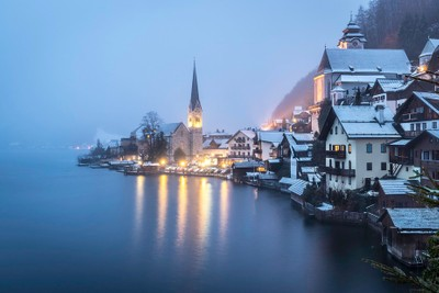 A beautiful winter evening in the magical city of Hallstadt, Germany. by theoherbots
