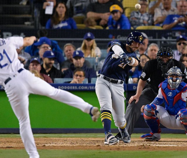 Dodgers Drop Behind   In Nlcs With Loss To Brewers Before Home Crowd