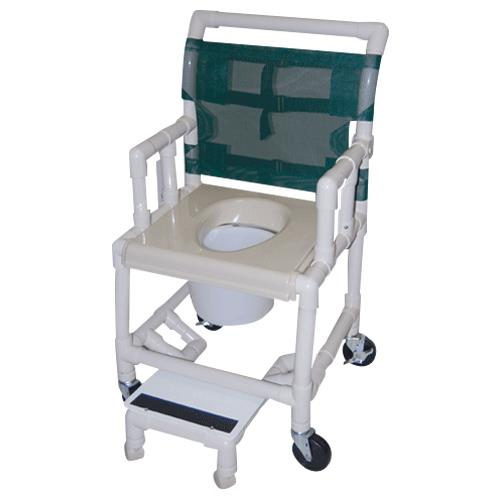 chair on wheels how to make rocking cushions healthline deluxe drop arm vacuum seat shower commode 642017113healthline with footrest and l png