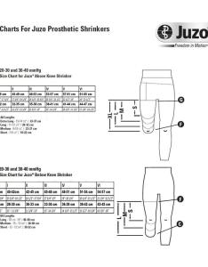 Size chart juzo prosthetic shrinkers stockings comparision also dynamic silver varin soft in below knee stump rh healthproductsforyou