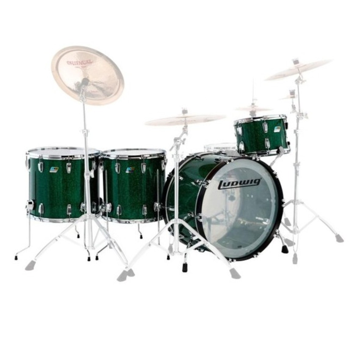 """Ludwig Vistalite Pro Beat 24"""" 4pc Shell Pack Green Sparkle"""