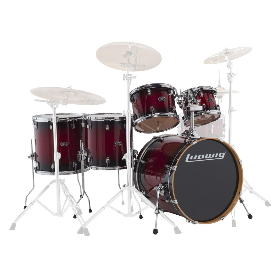 """Ludwig Element Evolution 22"""" 5pc Maple Shell Pack Red Fade"""