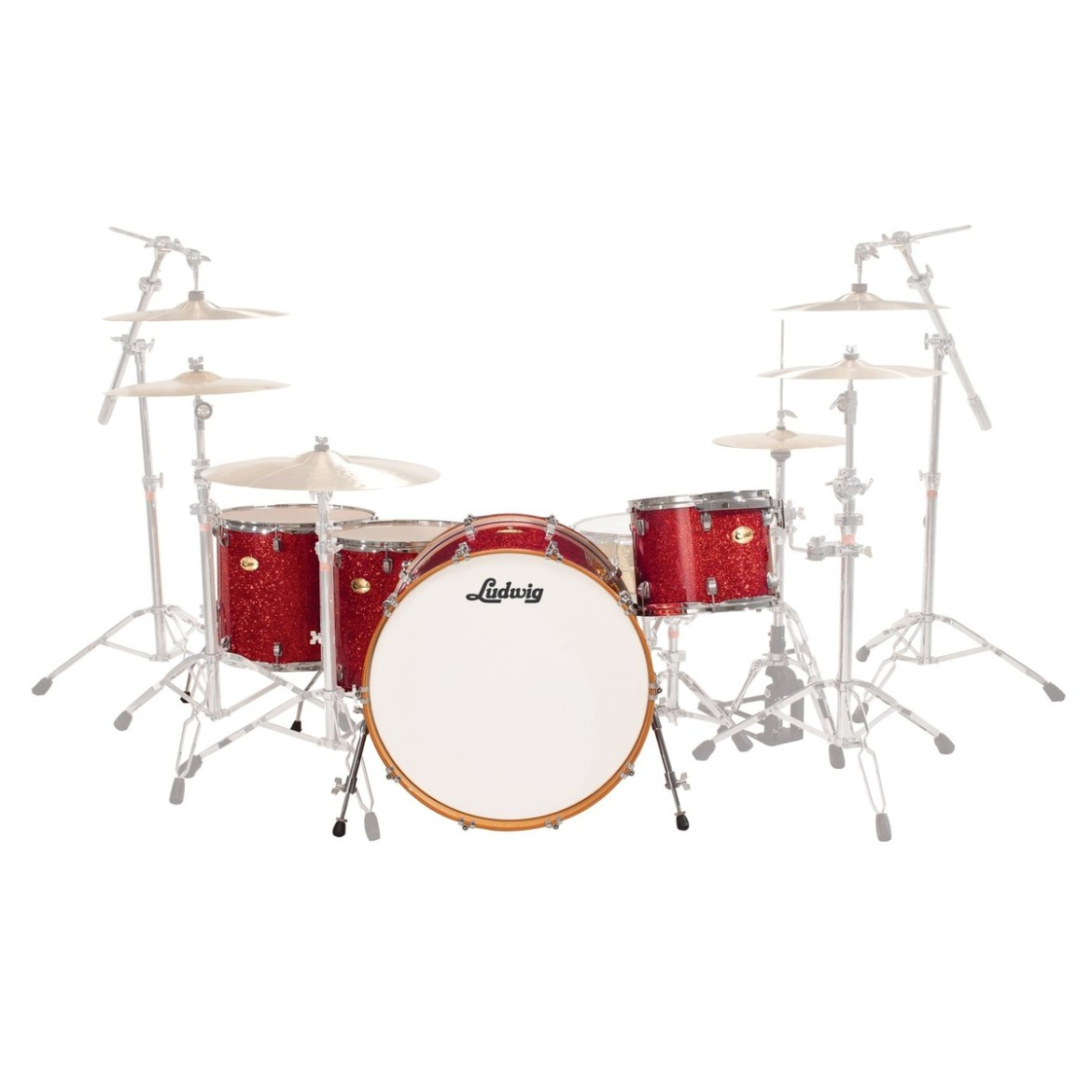 """Ludwig Centennial Moto 24"""" 4pc Shell Pack Red Sparkle"""