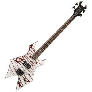 DISC BC Rich Revenge Warlock Bass, White Blood Splatter at
