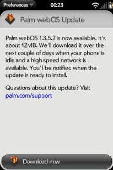 European Palm Pre Gets 1.3.5.2 Update