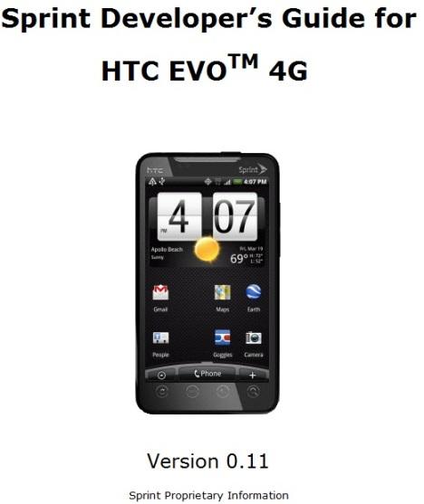 Sprint Releases HTC EVO 4G Developer's Guide