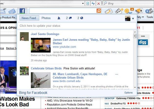 Bing toolbar Facebook