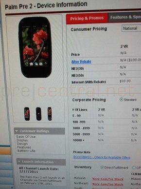 Verizon Palm Pre 2 product page