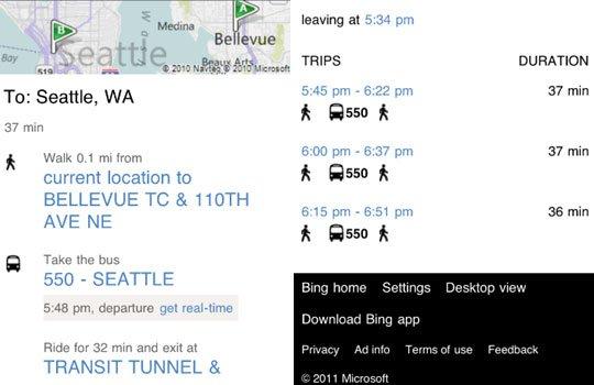 Bing real time transit