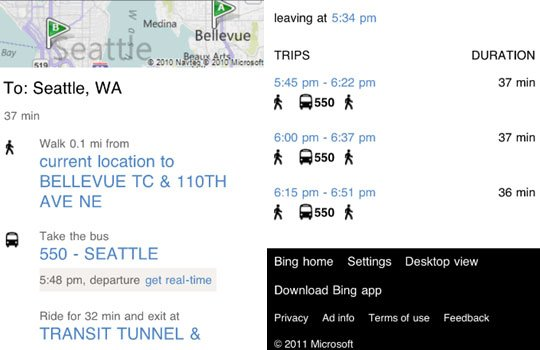 Bing real time transit