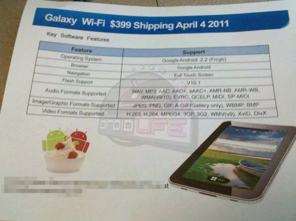 WiFi-only Samsung Galaxy Tab