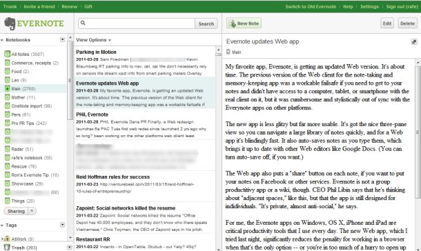 Evernote updated web app