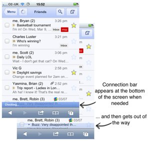 Gmail connection bar
