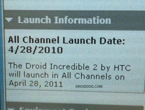 HTC Droid Incredible 2 launch date
