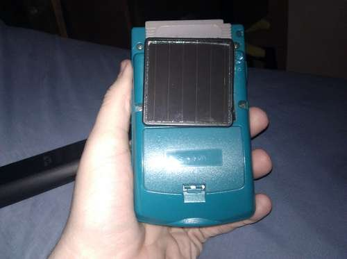Game Boy Color with a solar panel
