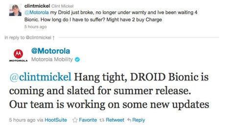 Motorola Droid Bionic tweet