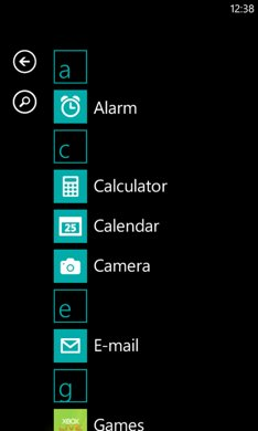 Windows Phone 7 App list