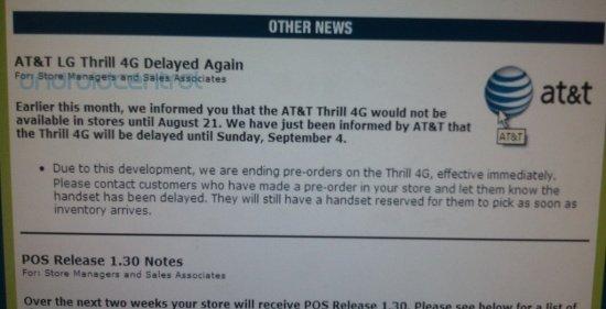 LG Thrill 4G delayed