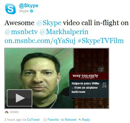 Skype video call in-flight