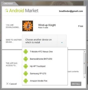 Android Market website