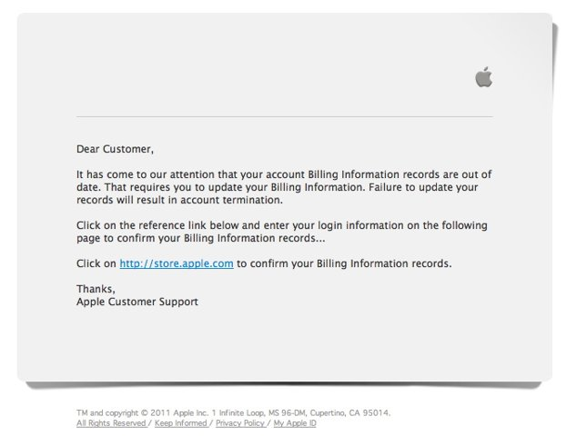 Apple phishing scam