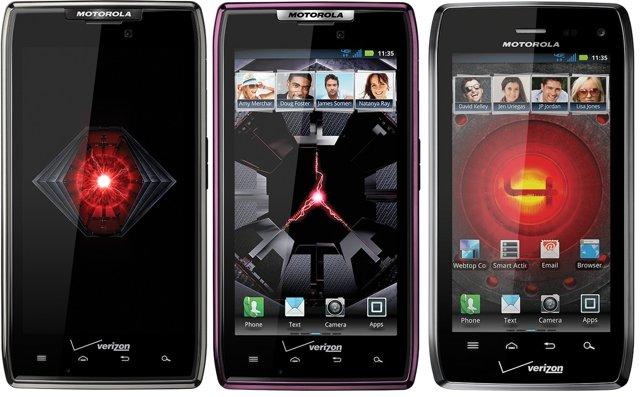 Motorola DROID RAZR MAXX, purple DROID RAZR and DROID 4