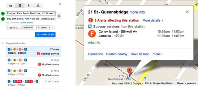 Google Maps service alerts