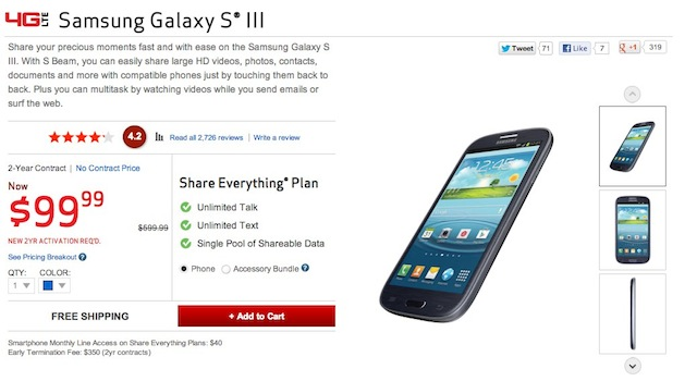 Verizon Slashes Samsung Galaxy S3 Price Before Galaxy S4 Announcement