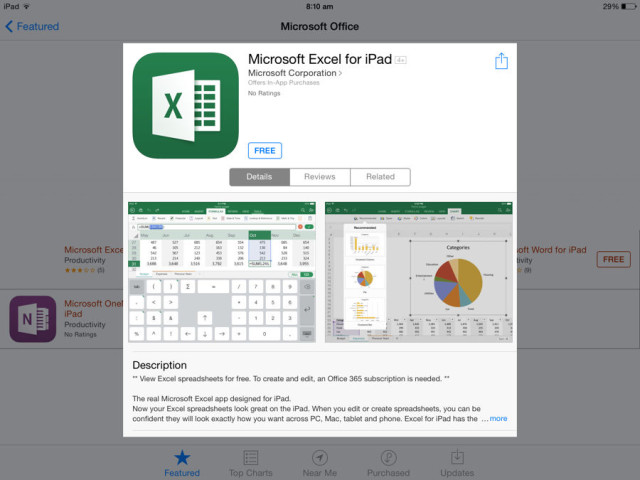 office for ipad excel