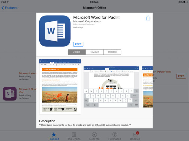 office for ipad word