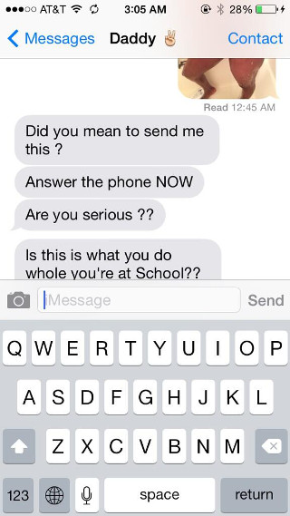 Girl accidentally sends nude selfie to her dad by mistake