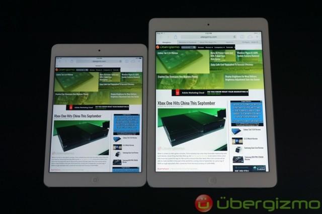 iPad mini with Retina display (left) vs. iPad Air (right)