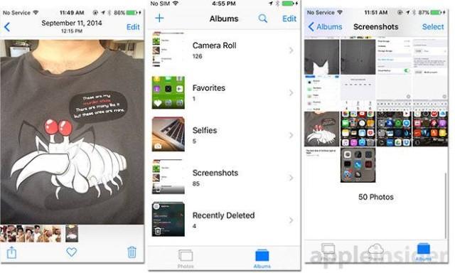 ios 9 selfie screenshots folder