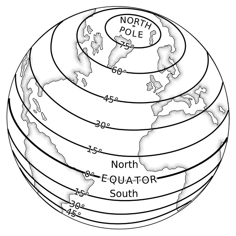 На изображении выше показаны некоторые линии широты.