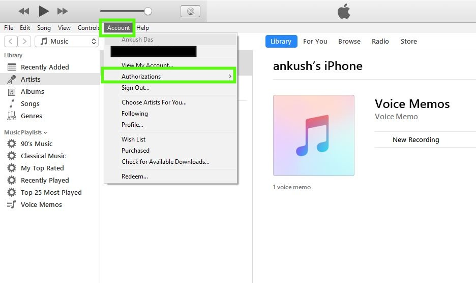 iTunes account option