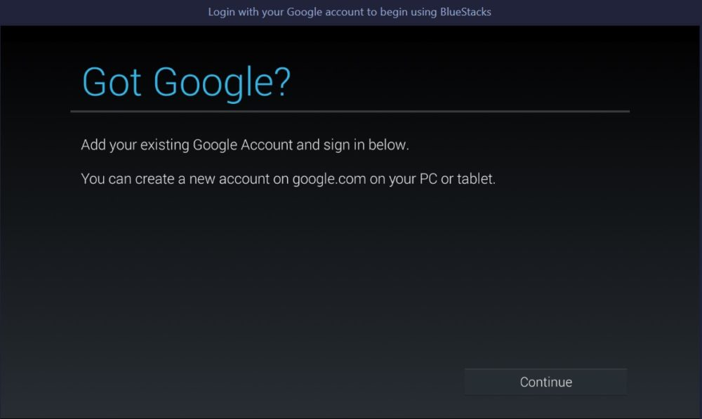 bluestacks - google sign in