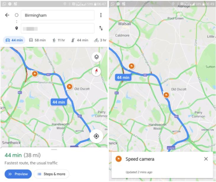 Google Maps Testing Out Sd Trap Icons With Alerts | Ubergizmo on google pi, google id, google death, google ho, google pr, google internet explorer, google de, google fa, google cr, google chrome,