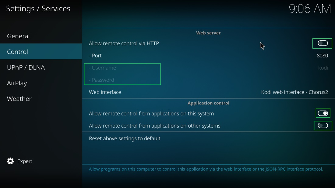 kodi remote settings