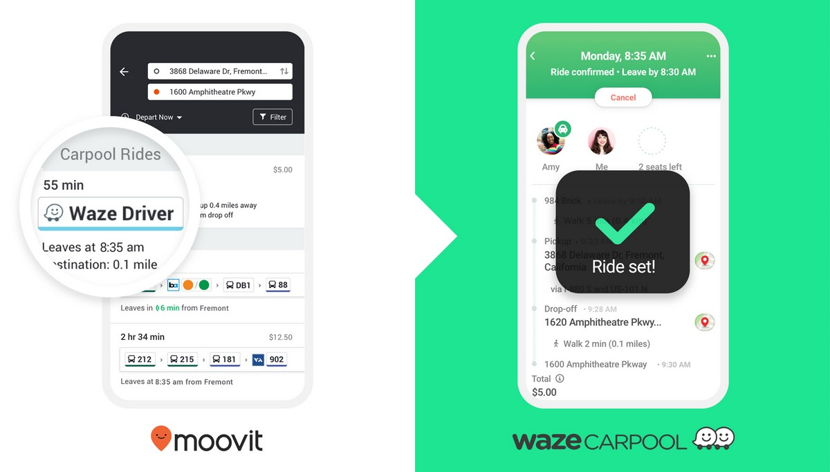 Carpool do Waze é adicionado ao aplicativo de transporte público do Moovit
