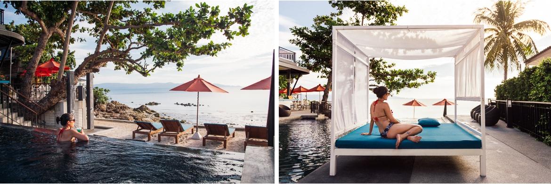 Piscina do hotel Sunset Beach Club em Koh Phangan | Viajando na Janela