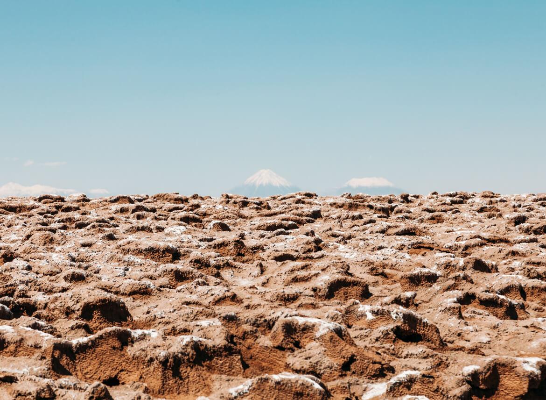 Lagunas Escondidas de Baltinache   ao fundo, os vulcões Licancabur e Juriques
