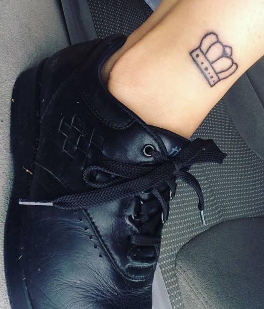 Crown Tattoo On Jaime Forsyths Ankle