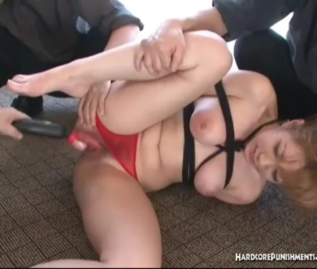 Bound Asian Babe In Red Panties Has Her Pussy Fucked With Sex Toys