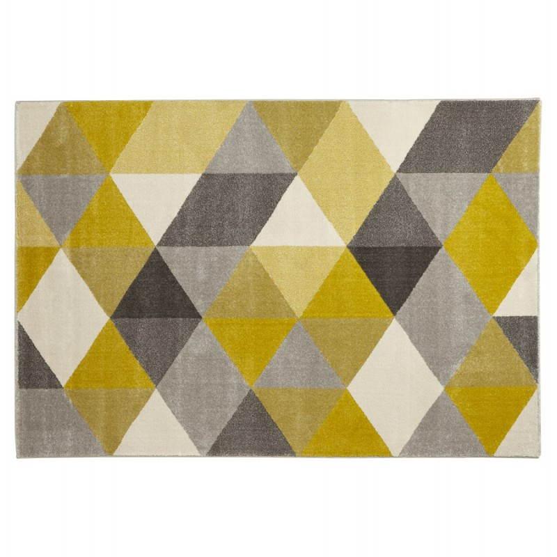 tapis design style scandinave rectangulaire geo 230cm x 160cm jaune gris beige scandinave