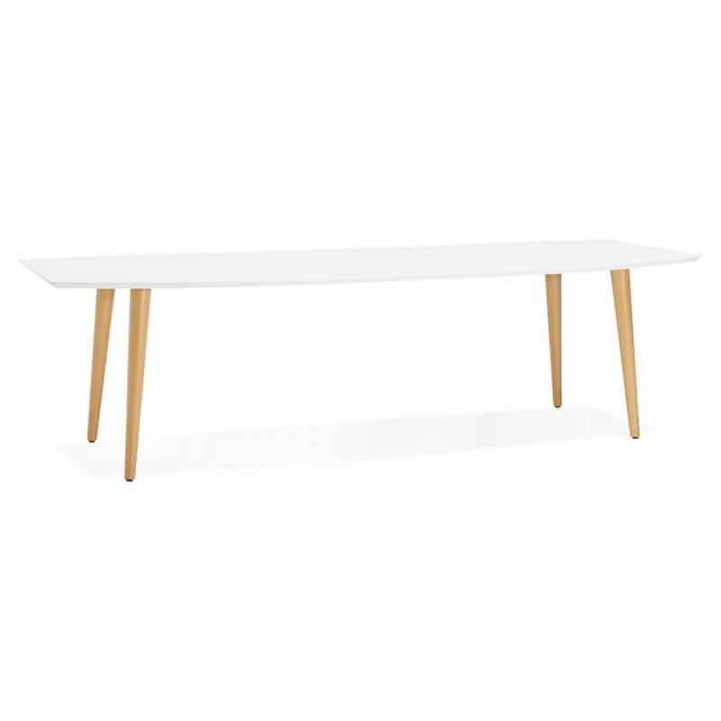 dining table rectangular scandinavian style with trine white wooden extensions