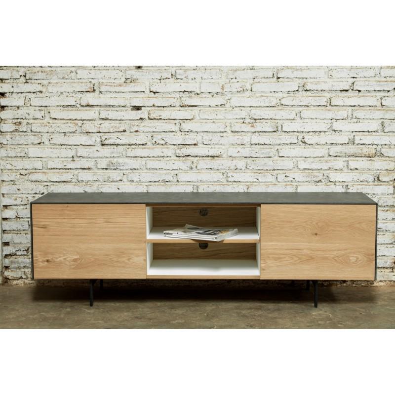 meuble tv bas contemporain 1 porte 1 tiroir 2 niches bouba en chene massif et revetement mineral chene naturel noir meuble tv