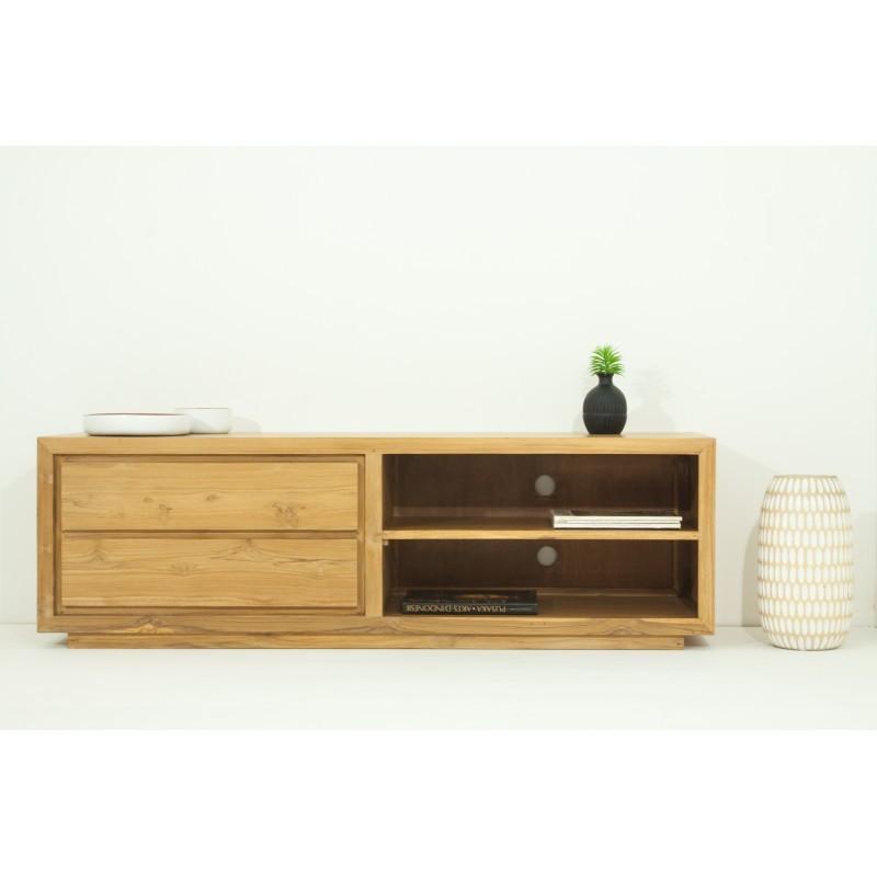 meuble tv bas contemporain 2 niches 2 tiroirs elena en teck massif naturel meuble tv