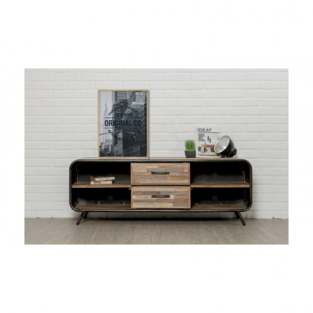 meuble tv bas 2 tiroirs 4 niches industriel 150 cm benoit en teck massif recycle et metal
