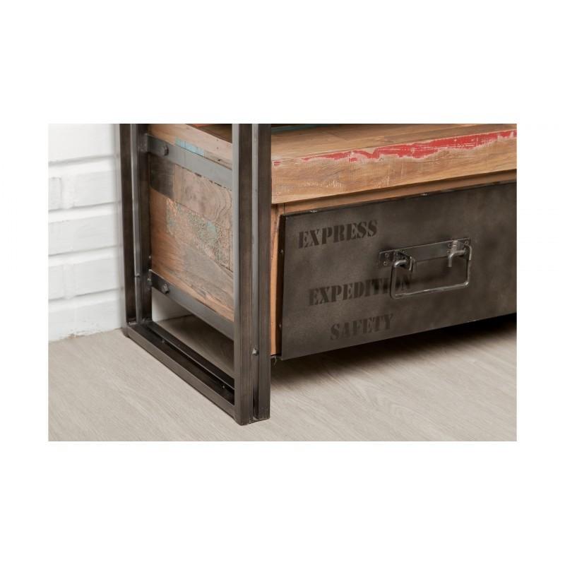 Mobel 2 Schubladen 1 Niedrige Tv Nische 110 Cm Noah Massiven Teak Recycelt Industrie Und Metall