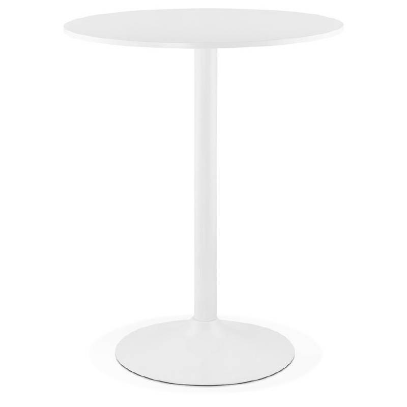 table haute mange debout design lucie en bois pieds metal blanc o 90 cm blanc table de salle a manger et table haute